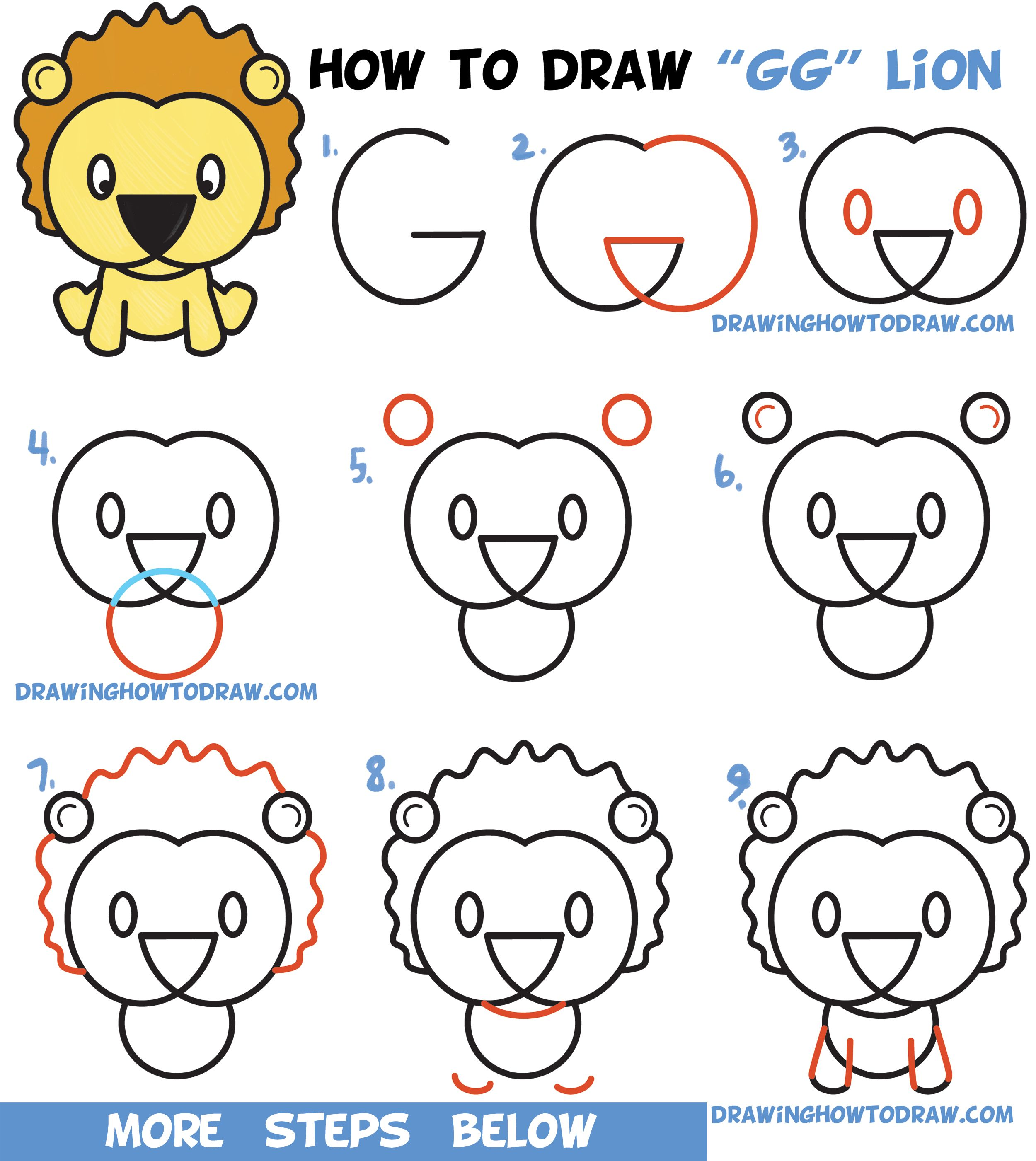 2500x2802 Learn How To Draw A Cute Cartoon Lion From Letters G Amp G Easy
