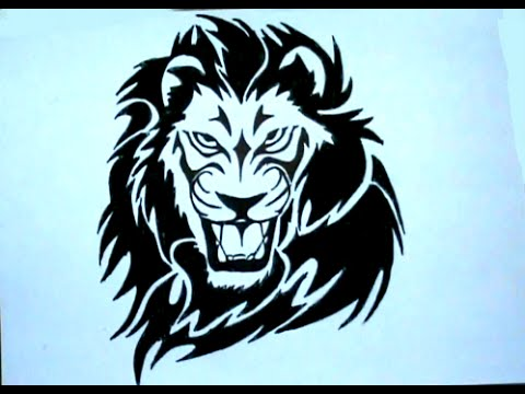 480x360 How To Draw Tribal Tattoo Lion Stencil Drawing