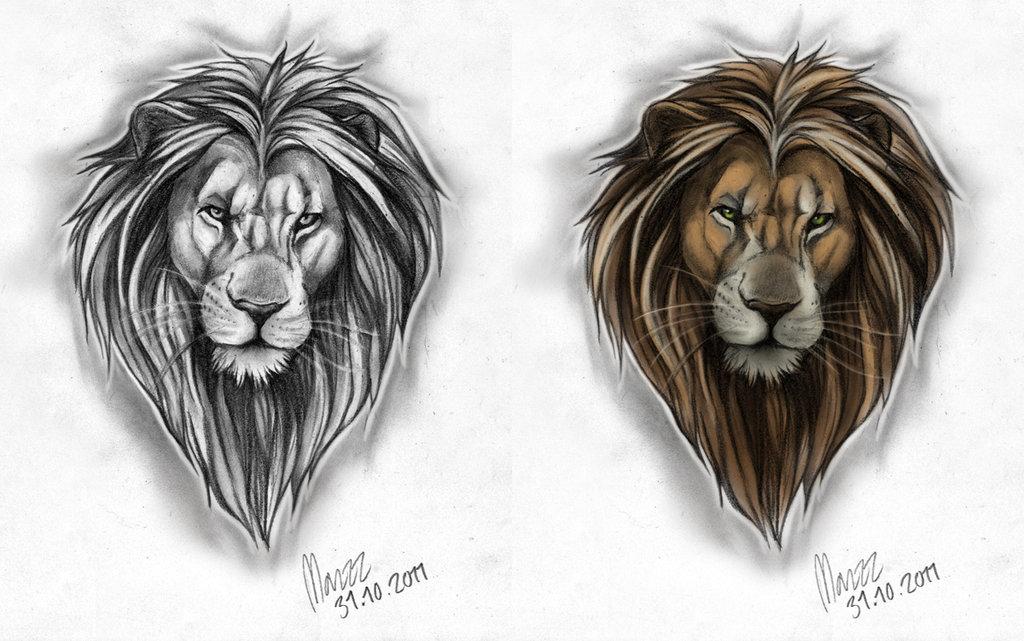 1024x641 Male Lion Tattoo Design By Marzzunny
