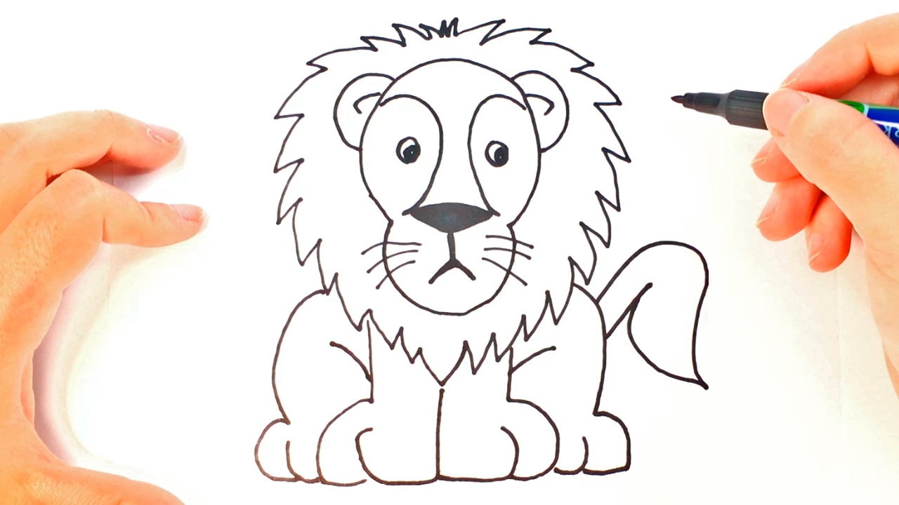 1280x720 How To Draw A Lion For Kids Lion Easy Draw Tutorial