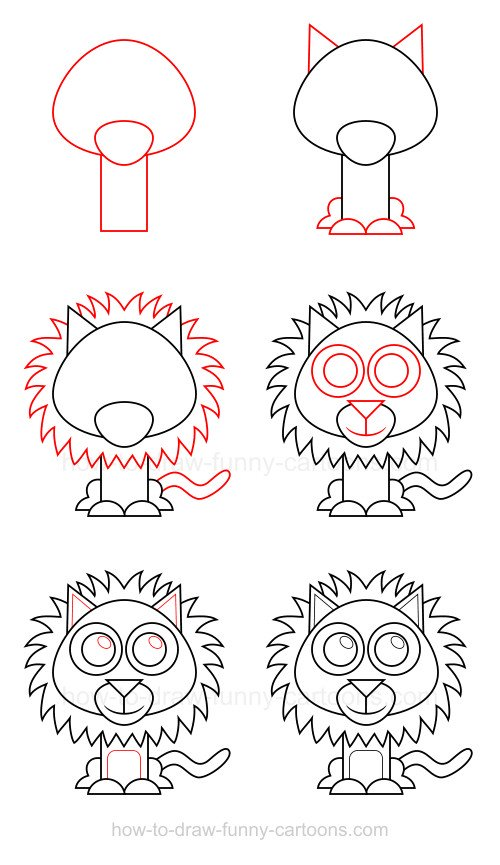 500x865 How To Draw A Lion Adorable Animals Lions, Easy