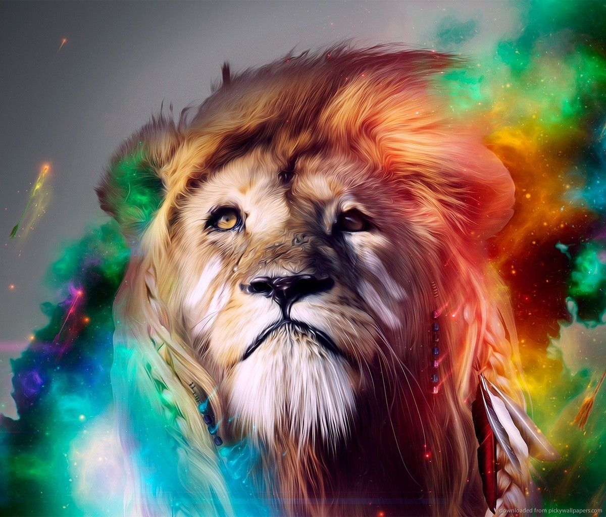 1200x1024 Download Colorful Lion Art Wallpaper For Samsung Galaxy Tab