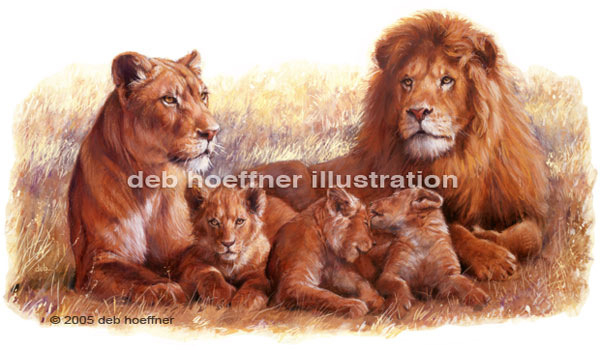 600x350 African Lion Pride Illustration In Glowing Colorful Realistic