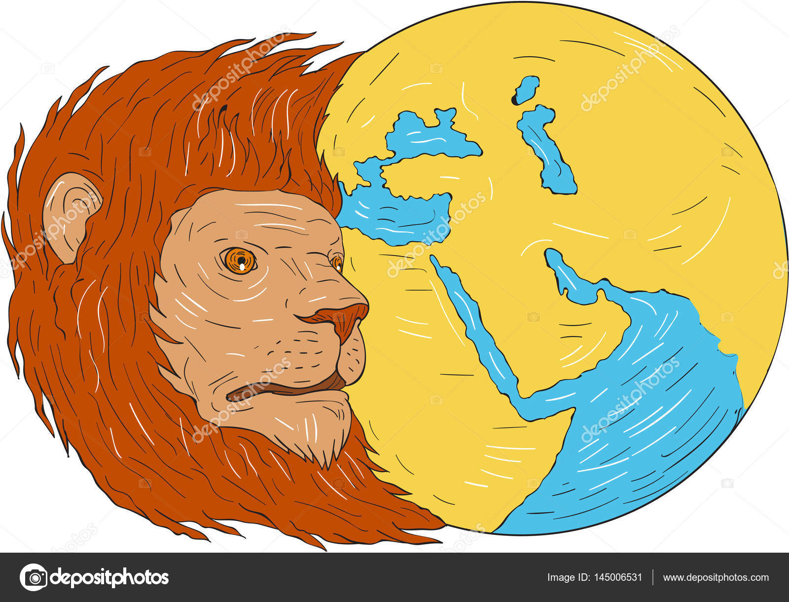 1600x1220 Lion Head Middle East Asia Map Globe Drawing Stock Vector