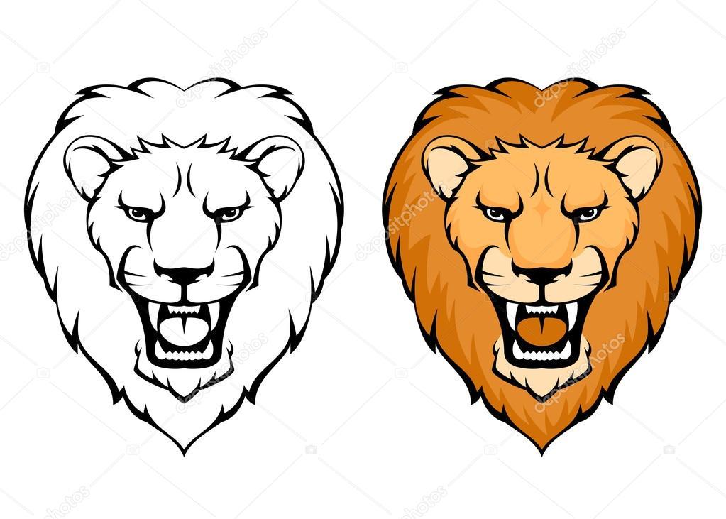 1023x731 Cartoon Lion Face Roaring Simple Illustration Of Lion Art