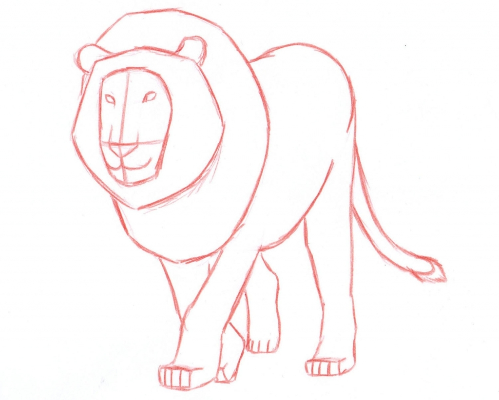 1024x821 How To Draw A Lion Step By Step In Pencil
