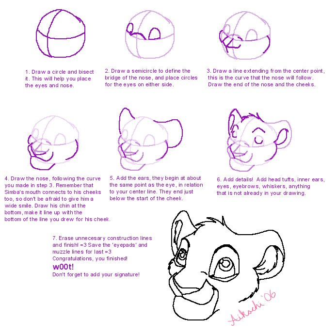 693x691 How To Draw A Lions Head By Aikachi02