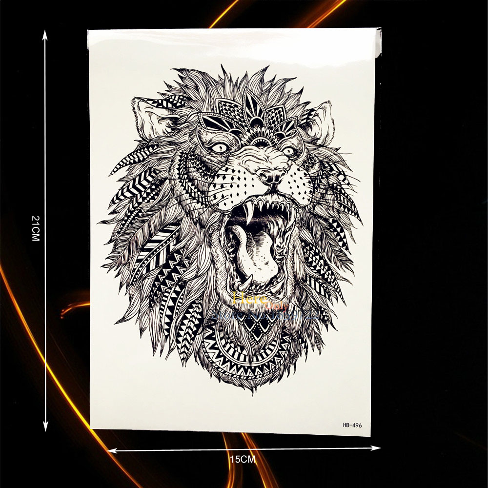 1000x1000 Large Animal Arm Tattoo Indian King Lion Head Design Waterproof