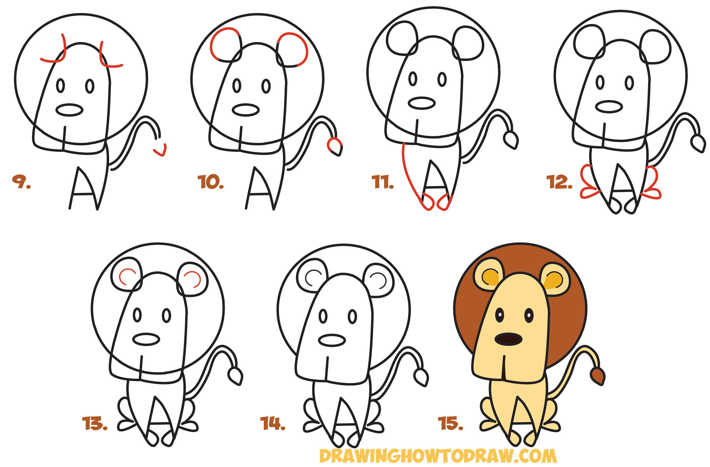 2396x1578 Cartoon Lion Drawing How To Draw Cartoon Lion From The Word Easy