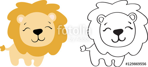 500x227 Drawing Of A Cartoon Cute Toy Lion