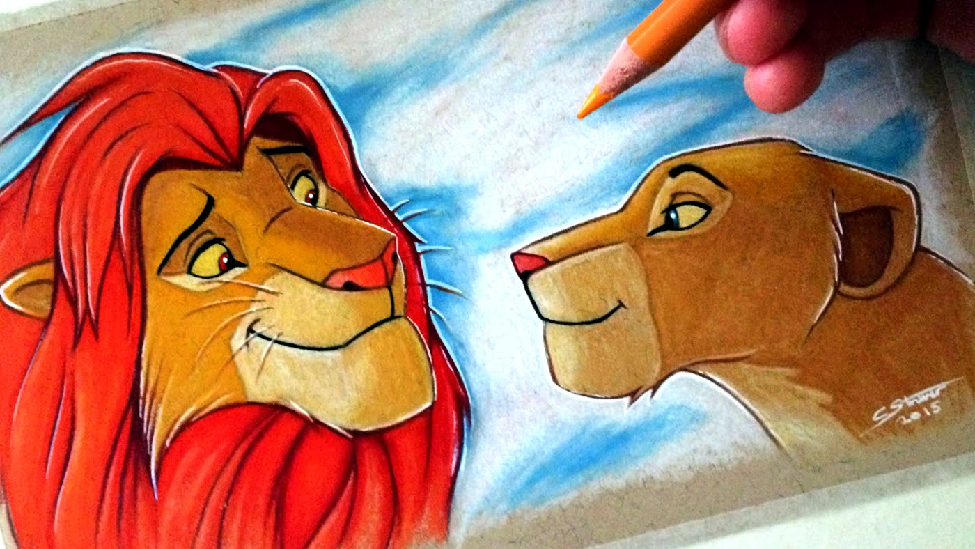 1400x788 Drawing Simba And Nala From The Lion King