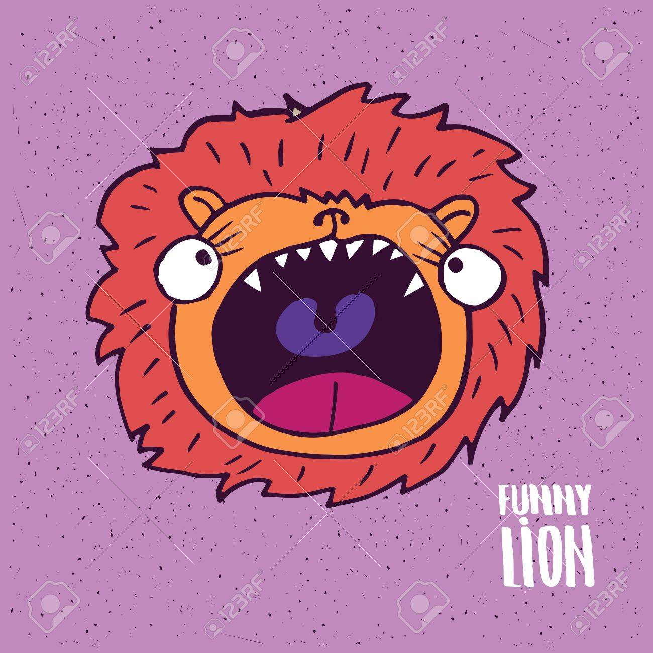 1300x1300 Cute Lion With Open Mouth On Slightly Desaturated Magenta