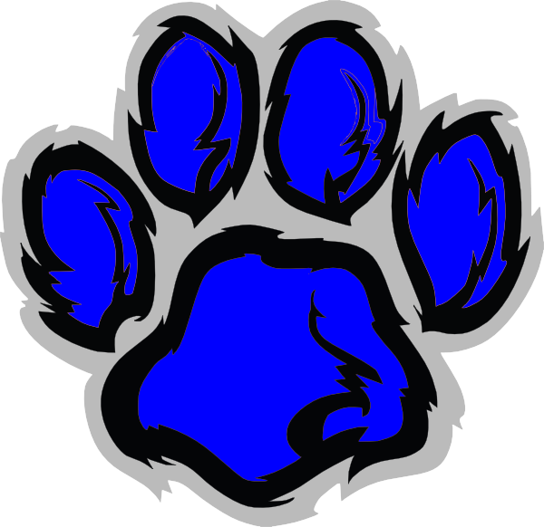600x582 Blue Lion Paw Clip Art