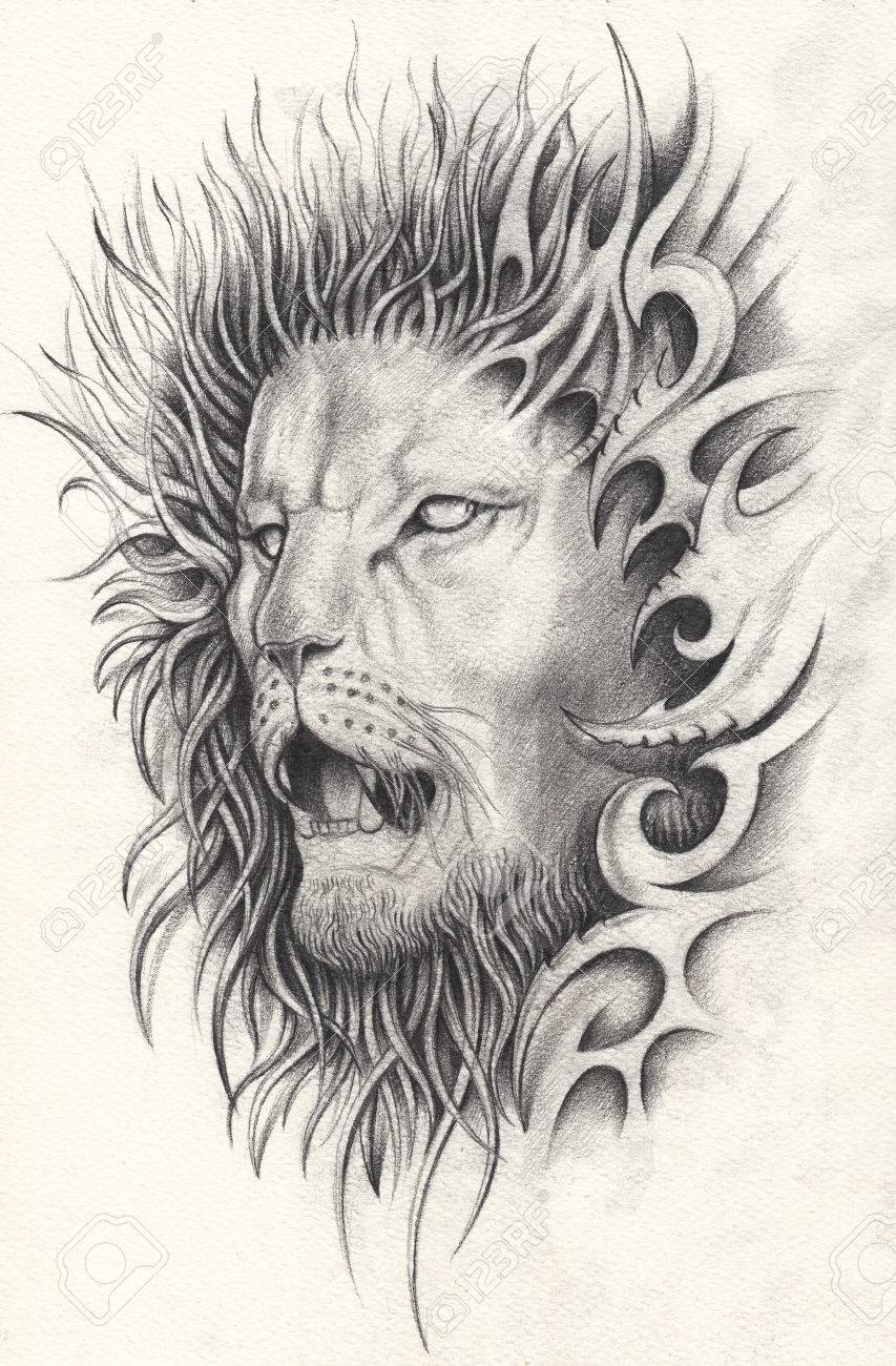 853x1300 Art Surreal Lion Tattoo. Hand Pencil Drawing On Paper. Stock Photo