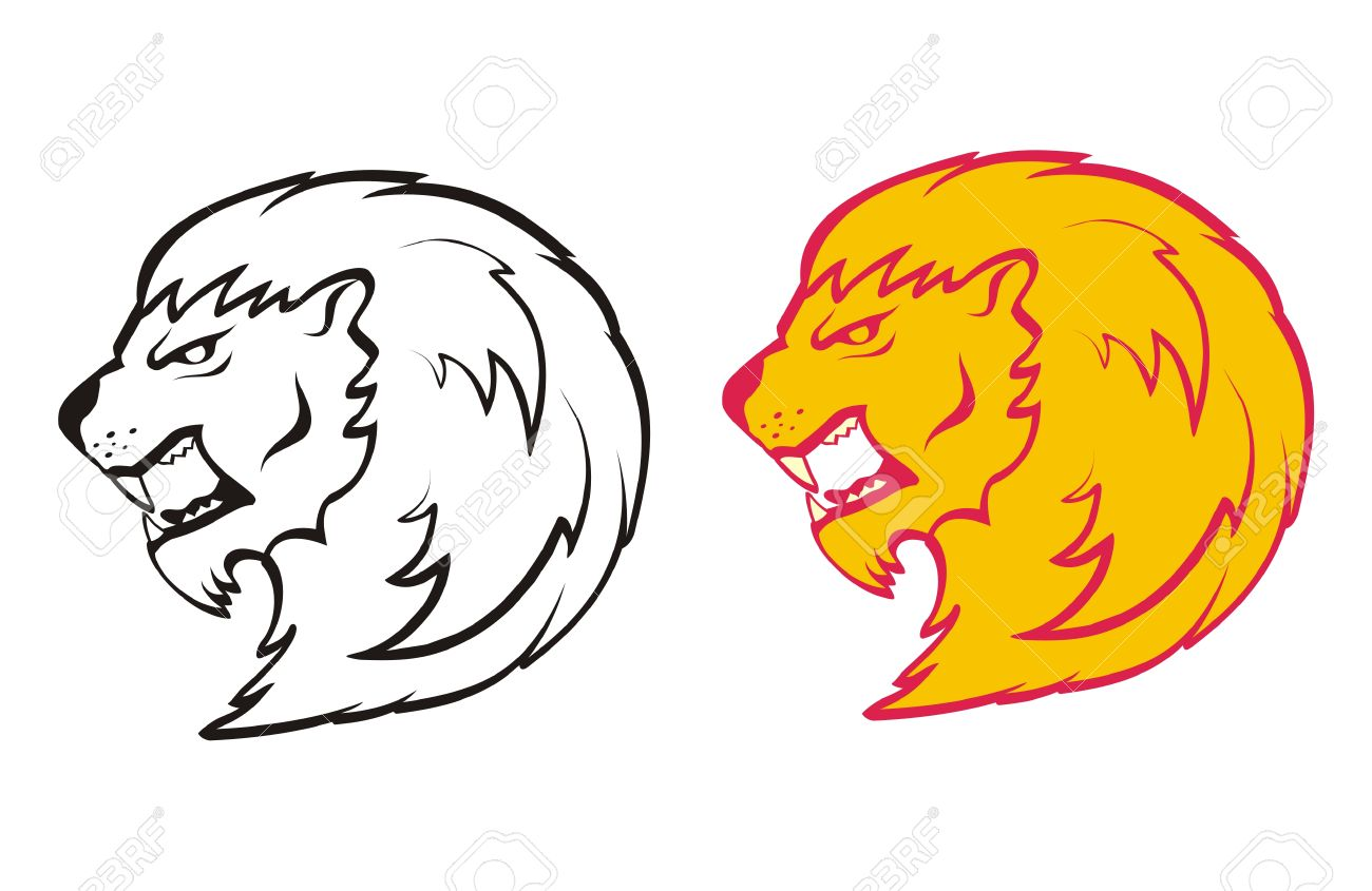 1300x845 Drawing The Head Of A Lion Roaring Royalty Free Cliparts, Vectors