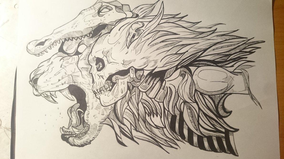 1191x670 Lion,crocodile, Skull Drawing By Liutauraas