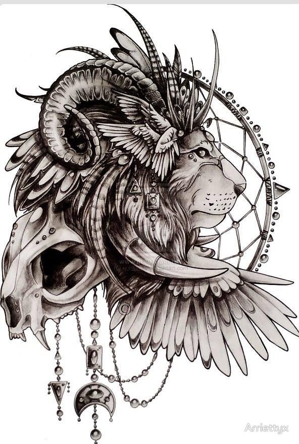 592x879 Lion Skull American Headdress By Arriettyx Redbubble