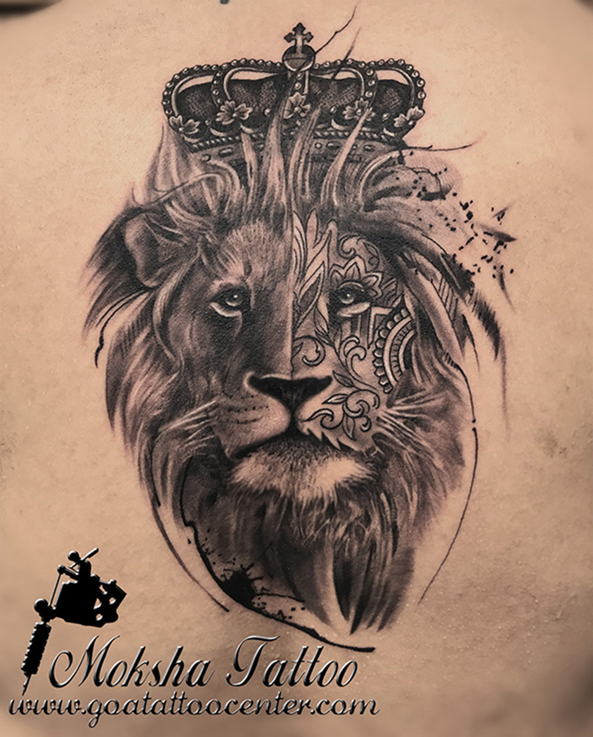 1200x1490 Realistic King Lion Tattoo With Crown Done By Mukesh Waghela