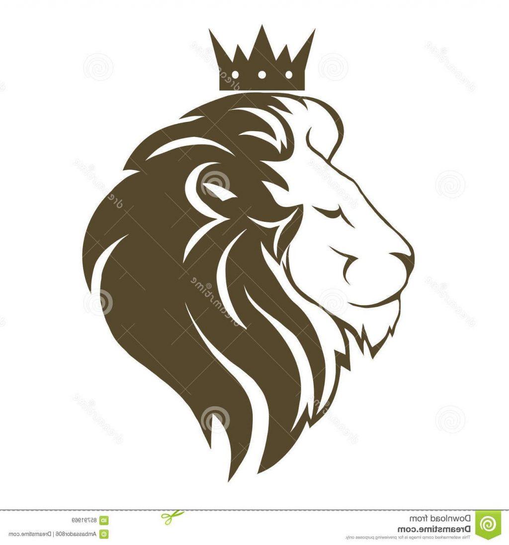 1024x1095 Unique Lion Head Crown Logo Royal Cat Profile Golden Luxury Emblem