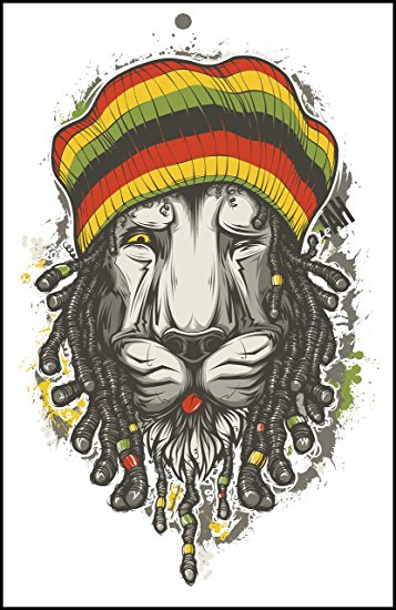 357x550 Detailed Rasta Lion With Dreads And Beanie Vinyl Decal