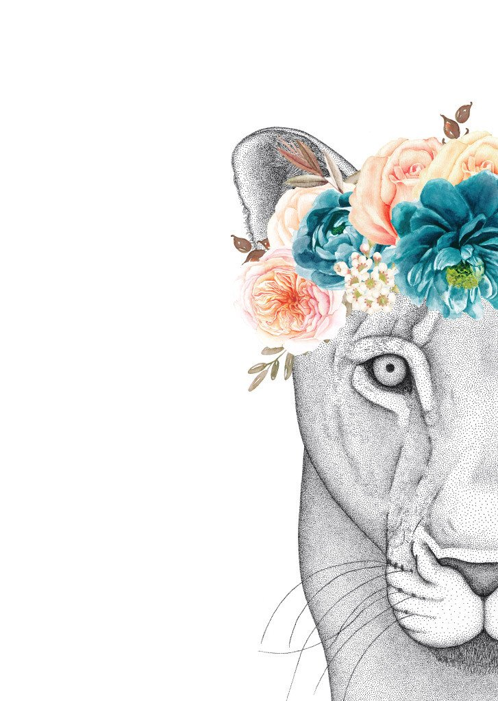 727x1024 Linda The Lioness With Flower Crown Dots By Donna