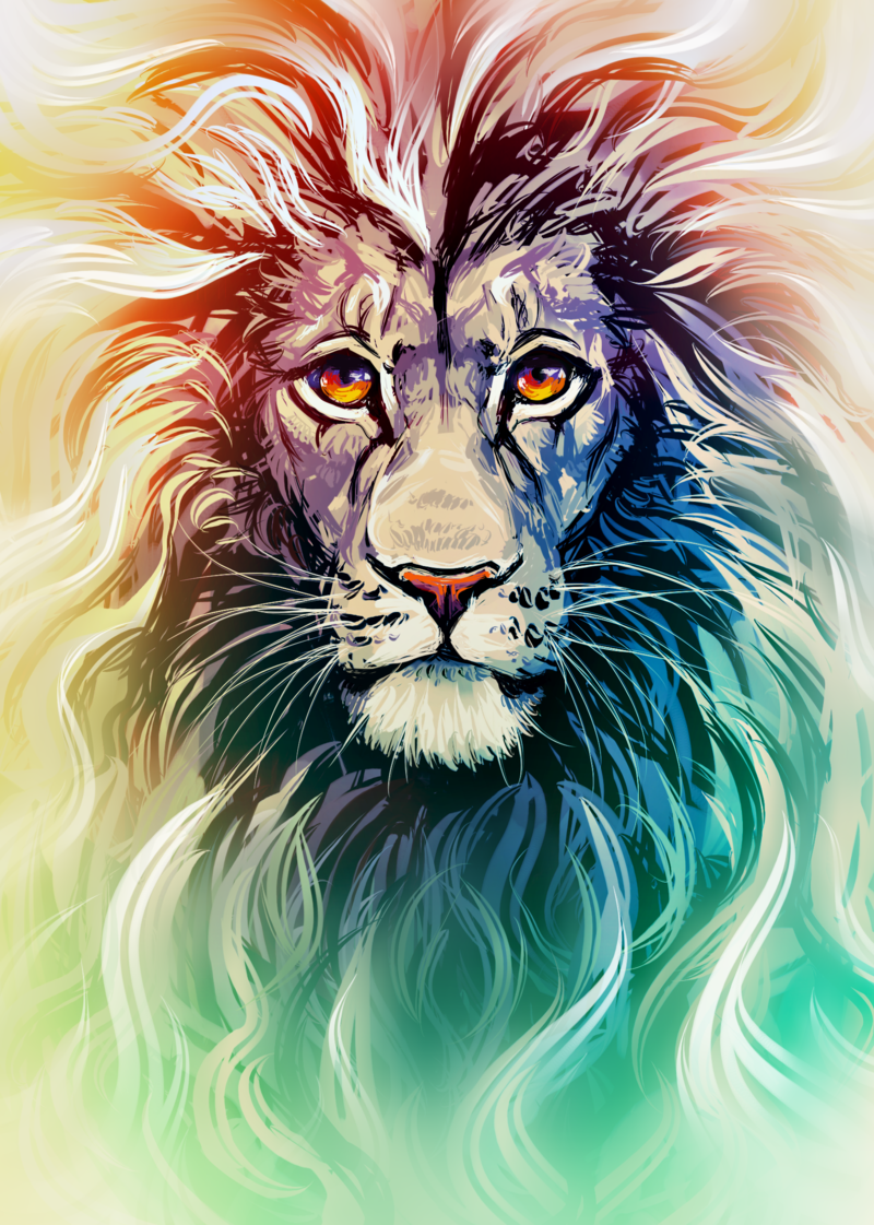 800x1121 Lion Portrait By On @ Cats