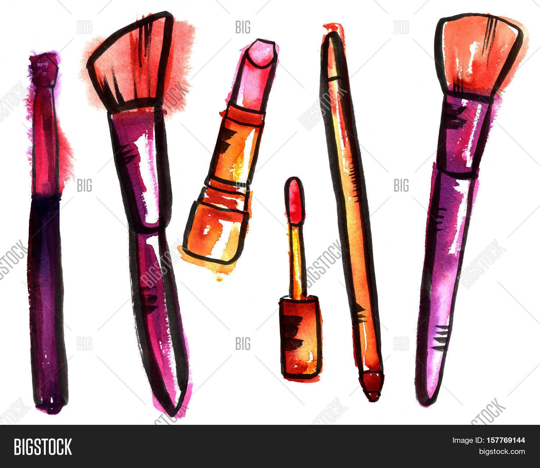 1500x1301 Makeup Brushes, Lip Gloss, Lipstick Image Amp Photo Bigstock