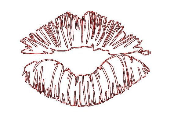 570x420 Kiss machine embroidery design. Kiss lips sketch doodle design
