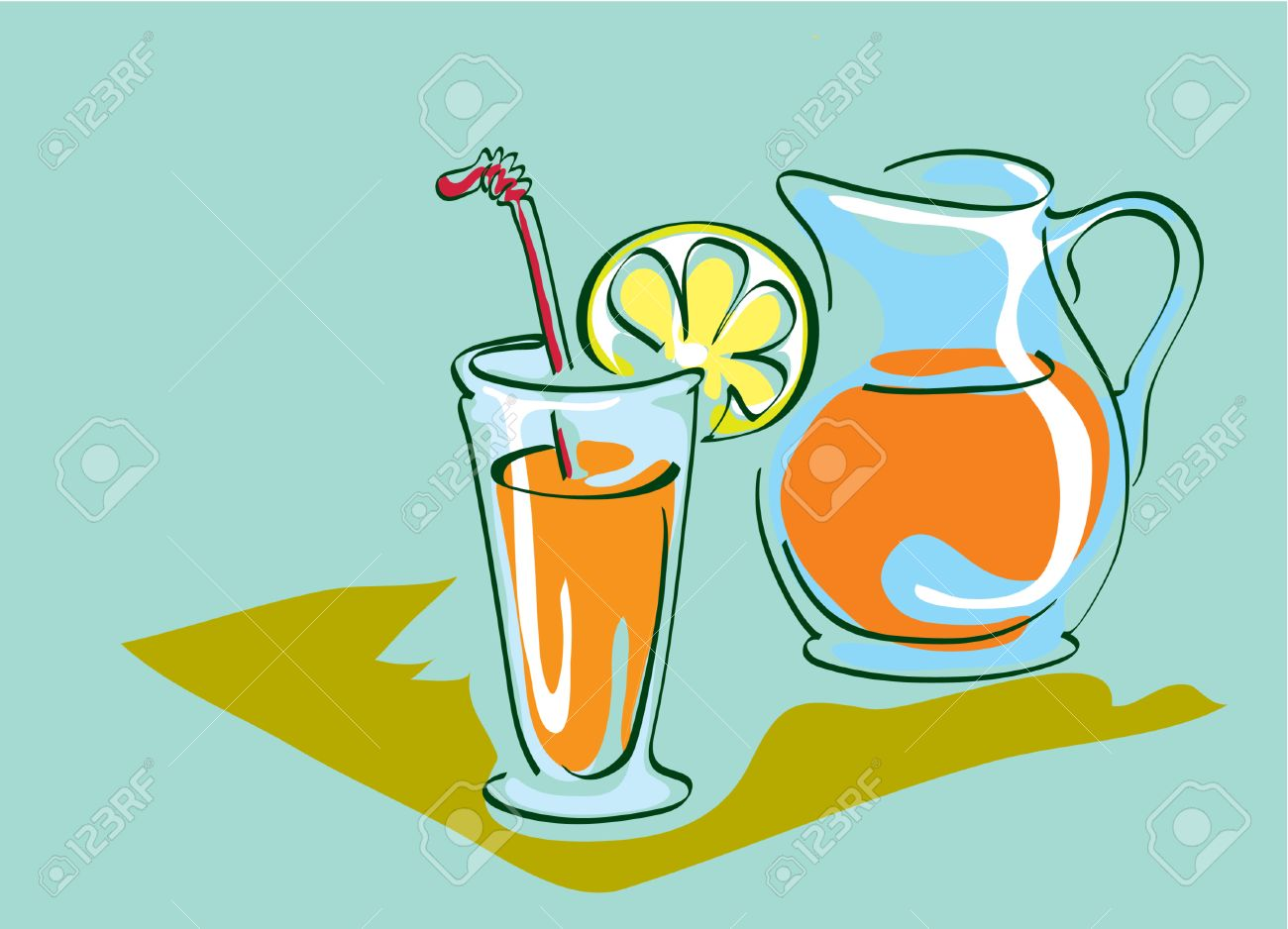 1300x938 Simple Coloured Drawing Glasses Cup And Pitcher Whith Orange