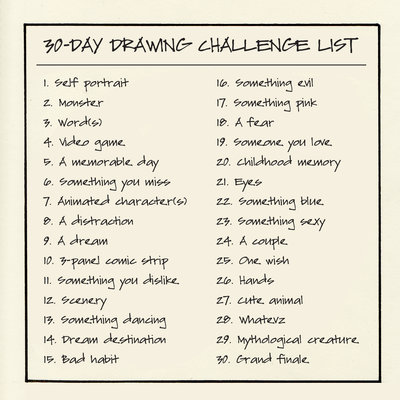 400x400 30 Day Drawing Challenge List By Chirpingbee