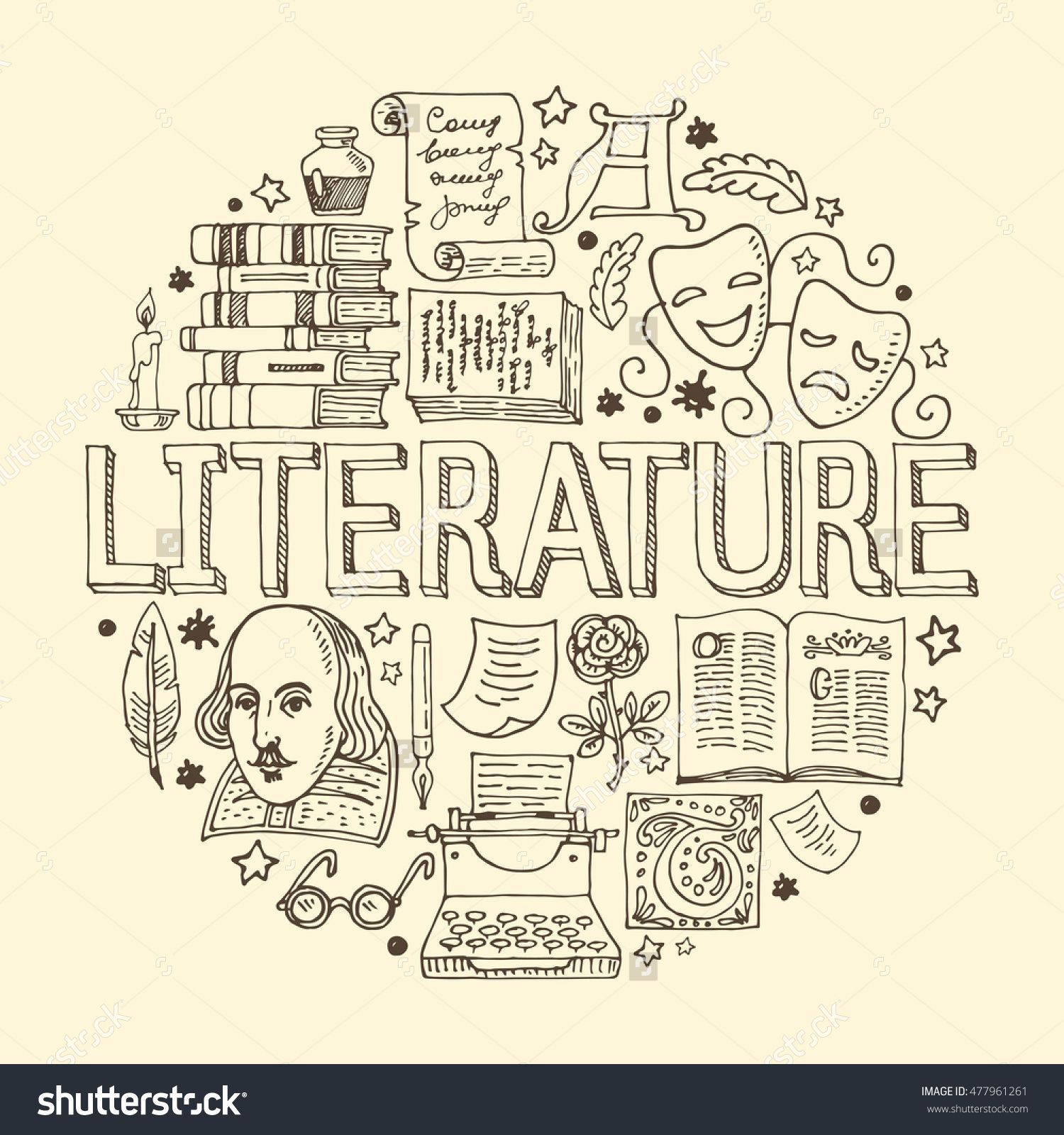 1500x1600 Literature Hand Drawn Vector Illustration With Doodle Icons