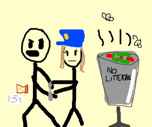 300x250 Arrested For Littering (Drawing By Eadanis)