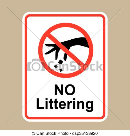 450x470 No Littering Sign Hand Gesture Red Black Vector Illustration