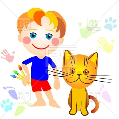 400x400 Cartoon Little Boy And A Cat Drawing Royalty Free Vector Clip Art