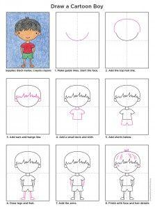 223x300 Draw A Cartoon Boy (Art Projects For Kids) Cartoon Boy, Cartoon
