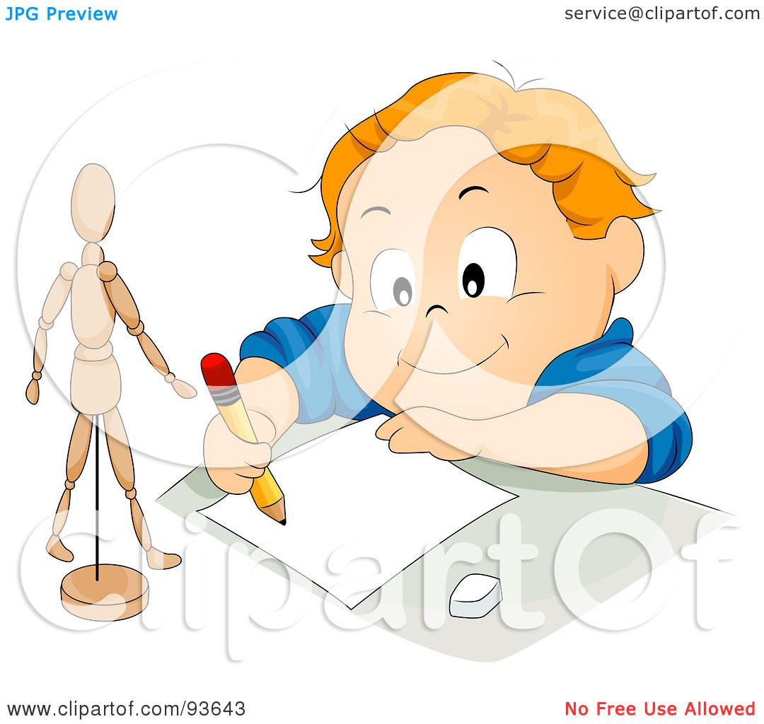 1080x1024 Royalty Free (Rf) Clipart Illustration Of Little Boy Drawing