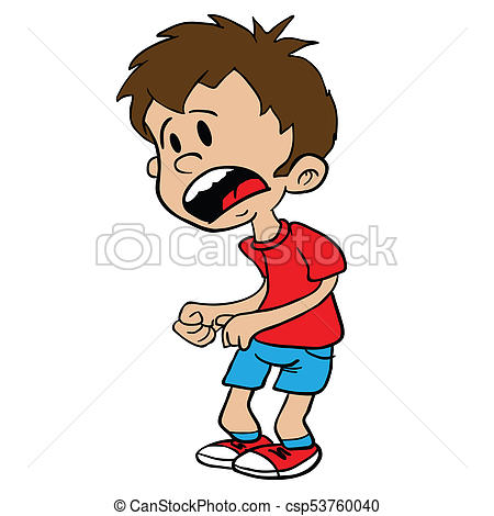 450x470 Scared Little Boy Cartoon Illustration Isolated On White Drawing