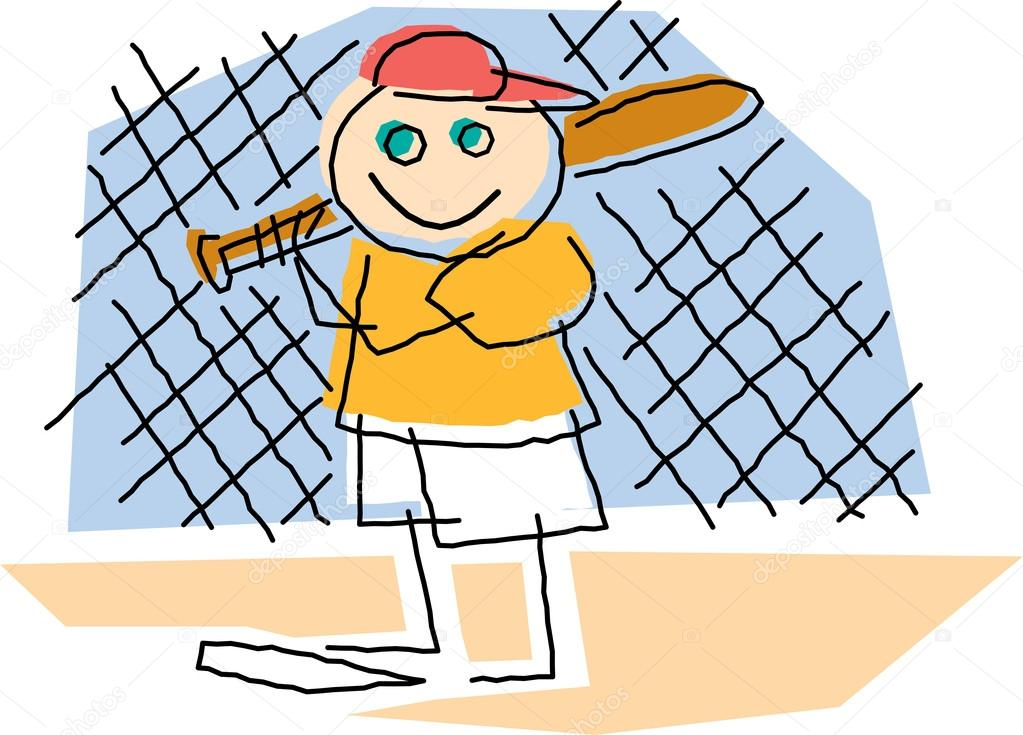 1023x735 Childlike Drawing Of A Little Boy Playing Baseball, Standing