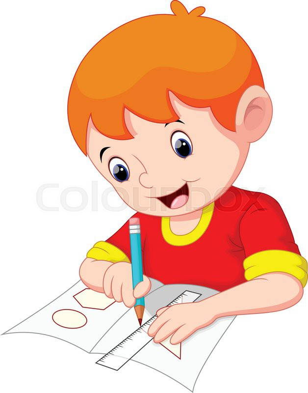 628x800 Little Boy Drawing On A Piece Of Paper Stock Vector Colourbox