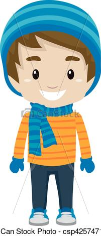 201x470 Vector Illustration Of Little Boy Wearing Winter Clothes Vector