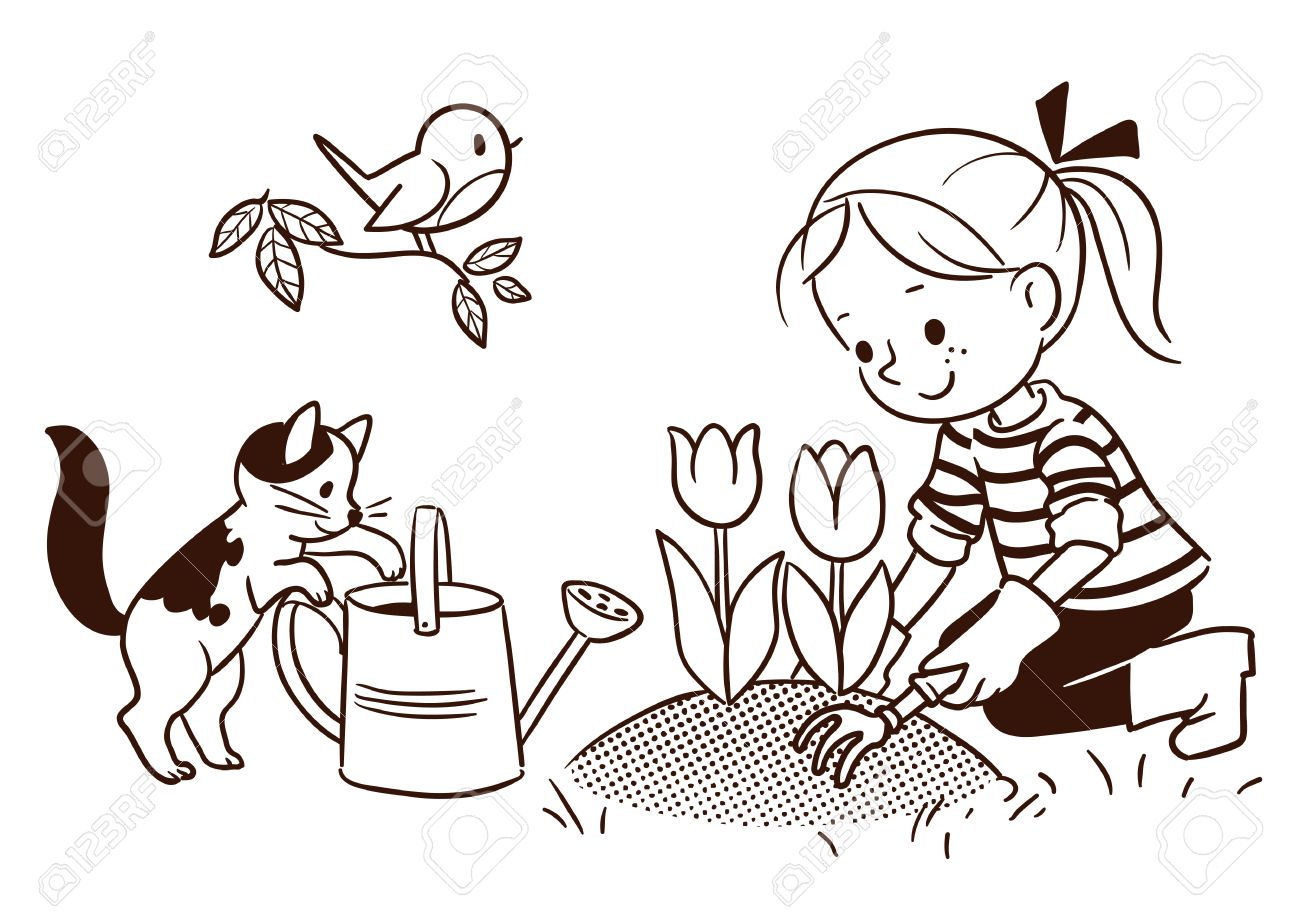 1300x920 Vector Black And White Cartoon Line Drawing Of A Cute Little