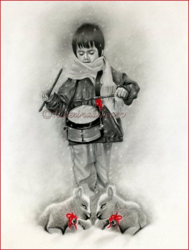 379x500 Christmas Little Drummer Boy Original Drawing Katerinaart