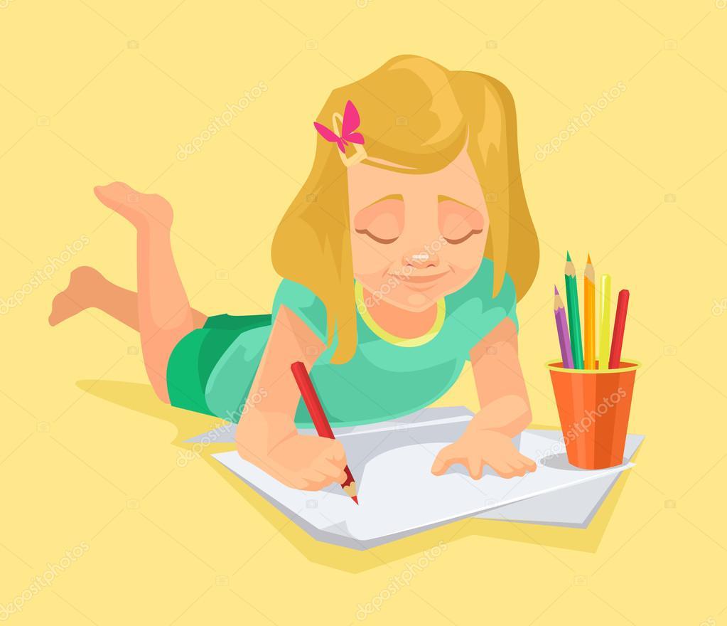 1023x880 Little Girl Drawing. Vector Flat Cartoon Illustration Stock
