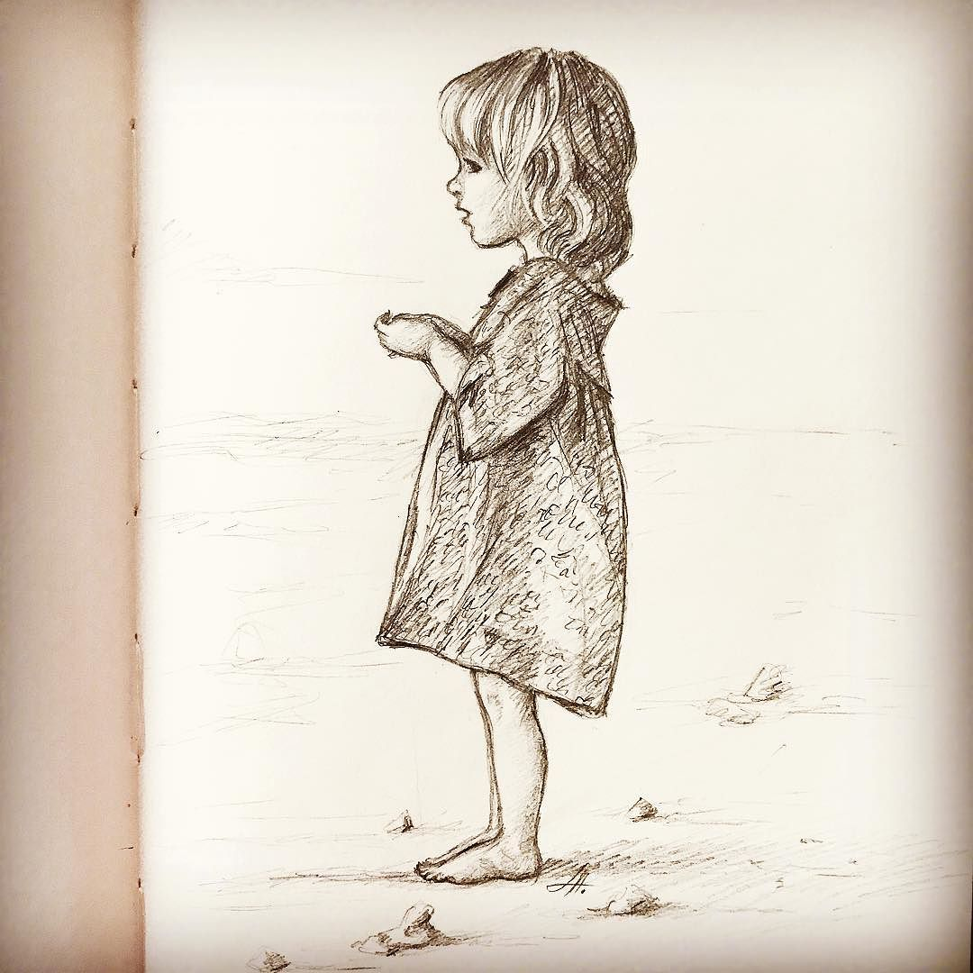 1080x1080 Little Girl Drawing. Quick Sketch.