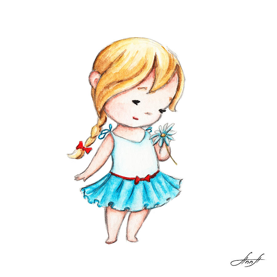 900x900 The Drawing Of Little Girl With A Daisy Painting By Anna Abramska