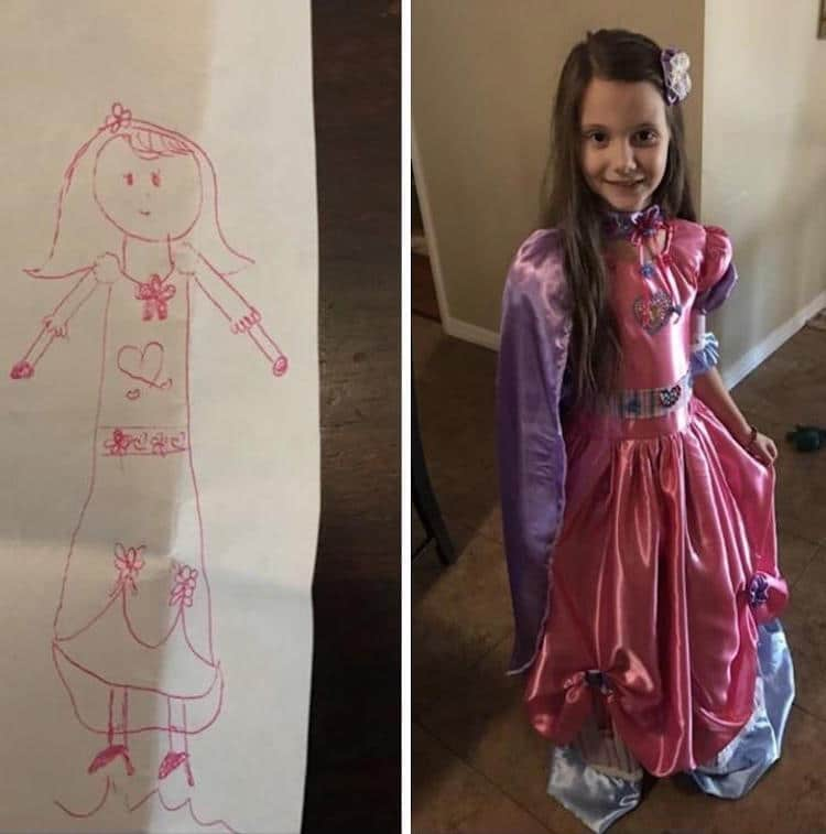750x757 Cute Grandma Turns Little Girl's Dream Dream Drawing Into A Real Frock