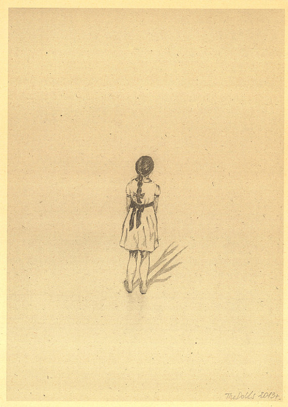 570x803 Items Similar To Little Girl In White Dress Pencil Drawing A4