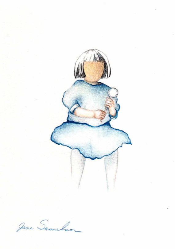 570x811 Little Girl In A Blue Dress Original Drawing Old By Artofjane