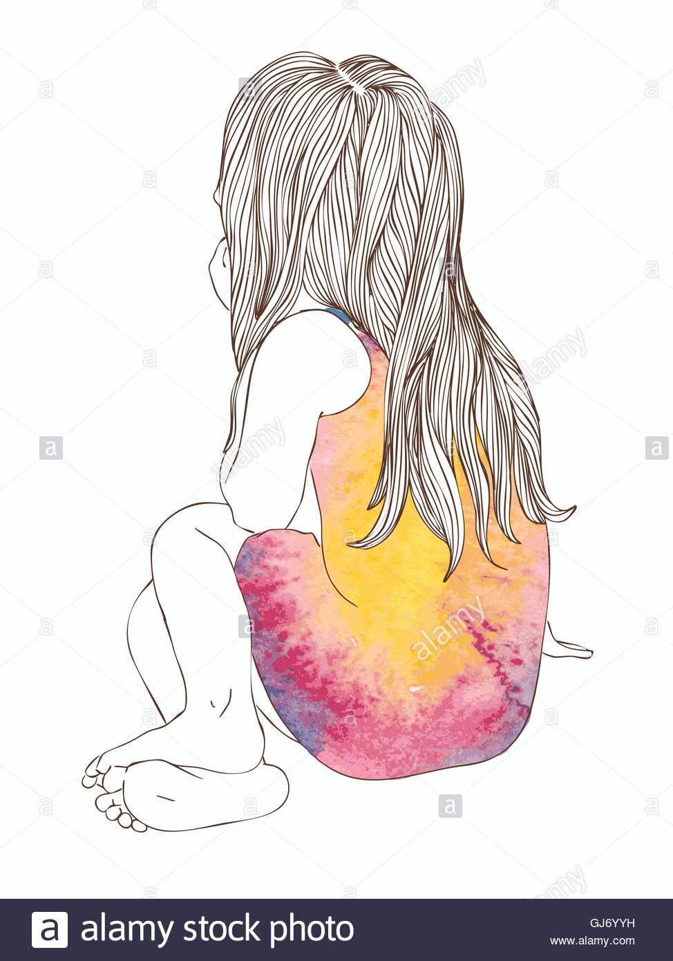 974x1390 Little Girl In A Watercolor Dress Sitting Stock Vector Art