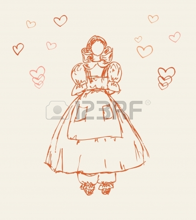 401x450 Set With Sketches Of Little Girls In Retro Clothes Hand Drawn
